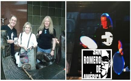 """LOS IRON MAIDEN ANTE LA TUMBA DE ROMERO. La banda británica con fama de satánica viste una camiseta de """"San Romero de América"""" en el escenario ante 35.000 fans"""
