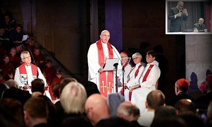 El Papa en Suecia. En el recuadro, Bergoglio presenta el libro de Methol Ferré en Buenos Aires el 16 de mayo de 2009