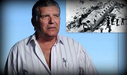 Carlos Miguel Páez. En el recuadro el avión Fokker F27 que se estrelló en la Cordillera en diciembre de 1972. FOTO RUBEN DIGILIO