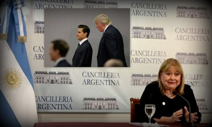 La Ministra de Relaciones Exteriores argentina Susana Malcorra. En el recuadro, el presidente de México Enrique Peña Nieto con el presidente estadounidense Donald Trump a sus espaldas