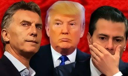 El presidente de Argentina Macri, Trump y el mexicano Peña Nieto