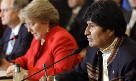 Michelle Bachelet con Evo Morales