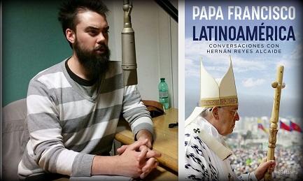 Hernán Reyes en los estudios de Radio Vaticana y la tapa del libro entrevista al Papa