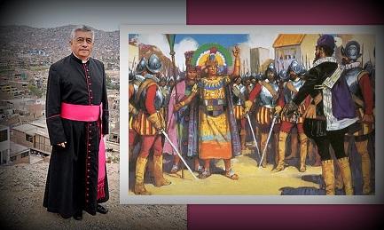 """Una imagen del """"juicio"""" de Atahualpa por Pizarro. El párroco Guillermo Inca Pereda"""