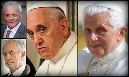 Las parejas Papa Bergoglio y Jonathan Pryce, Joseph Ratzinger y Anthony Hopkins