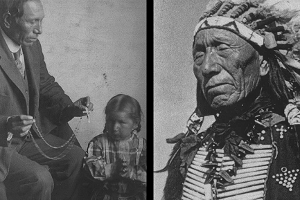 Black Elk catequista y jefe Lakota. (Foto de la izquierda: Marquette University Archives, Bureau of Catholic Indian Mission Records, ID 00559; foto de la derecha: Marquette University Archives, Bureau of Catholic Indian Mission Records, ID 01287/Ben Hunt)
