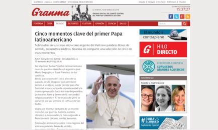 La primera página de Granma el 16 de marzo