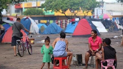 Refugiados venezolanos en la ciudad de Boa Vista, capital del estado de Roraima, en Brasil, que limita con Venezuela