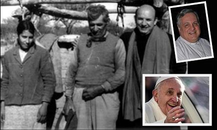 Angelelli con una familia del campo. Arriba Monseñor Colombo, abajo el Papa Francisco