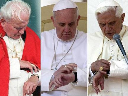 Juan Pablo II, Francisco y Benedicto XVI