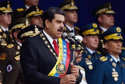 Nicolás Maduro con altos mandos militares venezolanos (AP).
